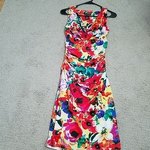 Red floral Lauren size for sleeveless cowl-neck dr